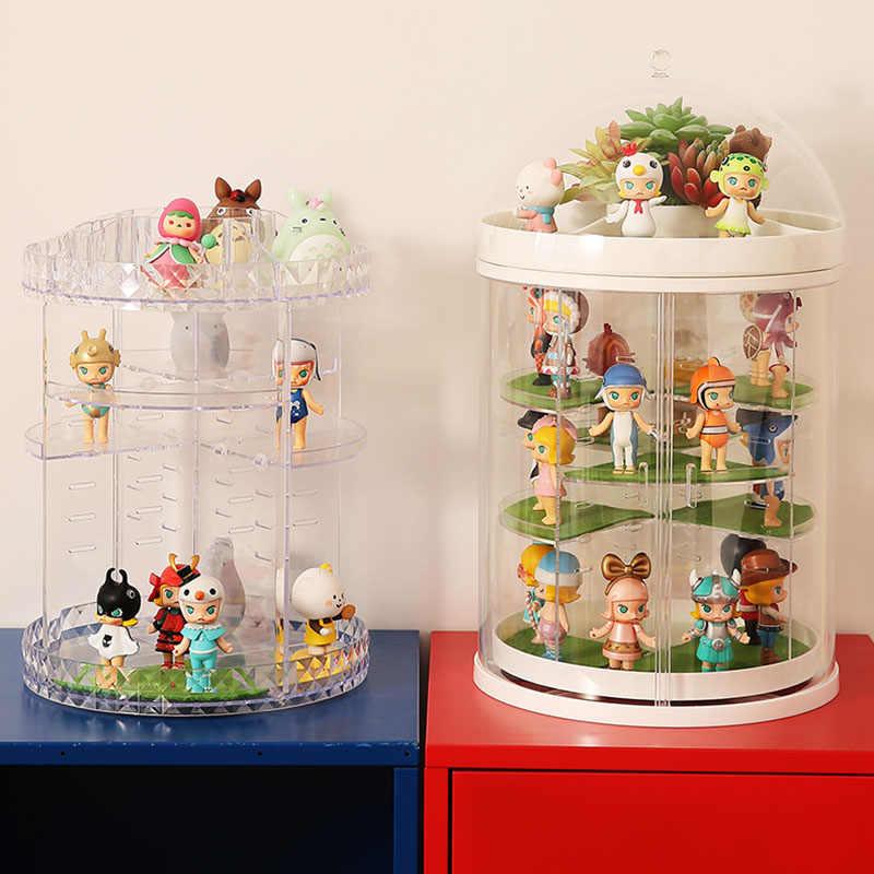 플라스틱 스토리지 박스 회전 주최자 마트 애니메이션 손으로 만든 인형 장난감 모델 스토리지 컨테이너 격자 디스플레이 박스