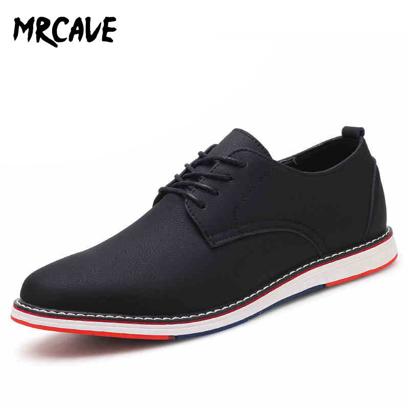MRCAVE Casual Flats Men Shoes Breathable Men's Business Dress Leather Casual Men Sneakers Fashion Lace-up Oxfords Formal Shoes