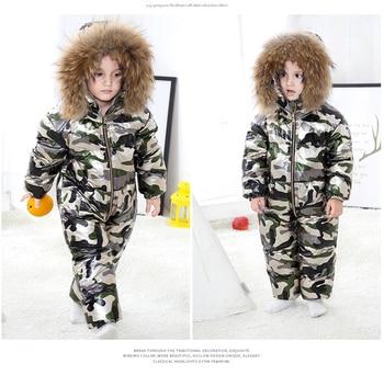 -30 Degree Baby Winter Down Jacket Camouflage Boys Girls Snowsuit Kids Warm Overalls Big Fur Hooded Toddler Boys Girls Jumpsuit