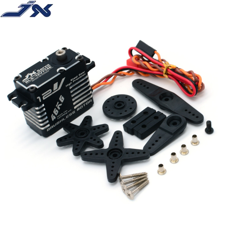 JX Servo BLS-12V7146 46KG12V HV engrenage en acier plein CNC coque en Aluminium numérique Standard Servo étanche pour RC Robot 1/5 voiture Heli