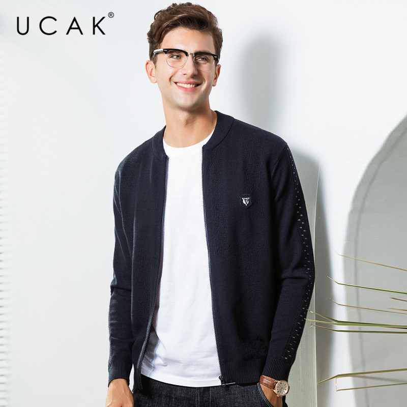 UCAK Brand Sweater Men Soft Cotton Knitwear Coat Men 2019 New Arrival Autumn Winter Thick Warm Cardigan Men SweaterCoats U1007