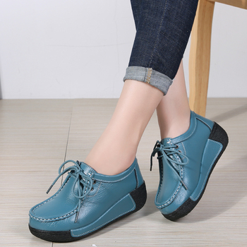 Women Flats Comfortable Loafers Shoes Woman Breathable Leather Lace-up Sneakers Women Fashion Black Soft Casual Shoes Female