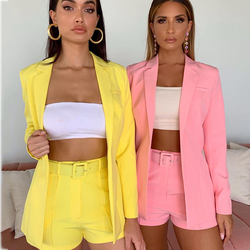 2019 Autumn New Sexy 2 Pieces Set Office Ladies Fashion Long Jacket High Waist Sashes Shorts Streetwear Neon Sets With Belt
