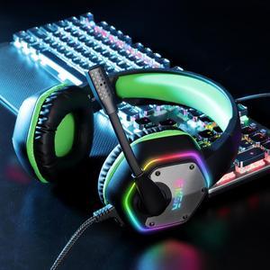 Image 3 - Проводные Игровые наушники EKSA E1000 с USB, профессиональная игровая гарнитура 7,1 виртуального окружающего звучания с микрофоном светодиодный светильник кой для PS4, ПК, зеленые, серые