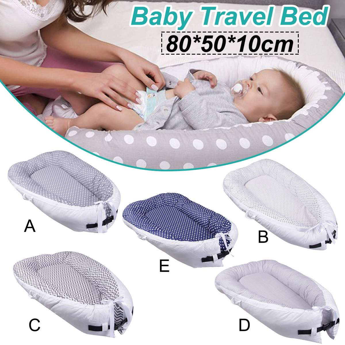 80*50cm Baby Nest Bed Portable Crib Travel Bed Infant Toddler Cotton Cradle For Newborn Baby Bassinet Bumper  Point Stripe