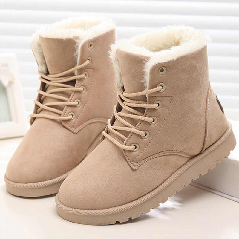 Kadın botları sıcak peluş kar botları sahte süet kış ayakkabı kadın Botines klasik kışlık botlar kadın ayak bileği Botas Mujer