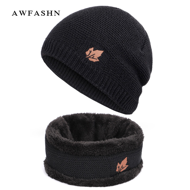 2019 New Fashion Maple Leaf 2 Pieces Set Knit Hat Scarf High Quality Plus Velvet Thick Winter Beanie Hats Scarves Man Woman Warm