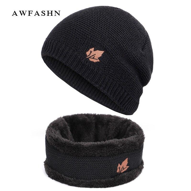 2019 New Fashion Maple Leaf 2 Pieces Set Knit Hat Scarf High Quality Plus Velvet Thick Winter Beanie Hats Scarves Man Woman Warm
