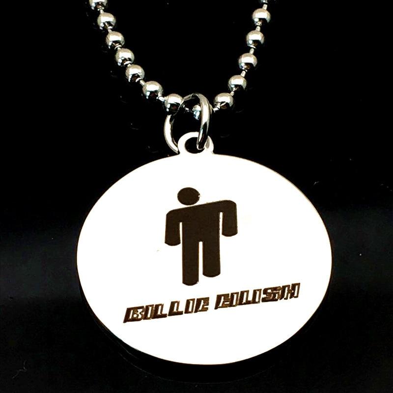 Купить с кэшбэком billie eilish necklace Round necklace Stainless Steel jewelry pendant necklace punk collier femme