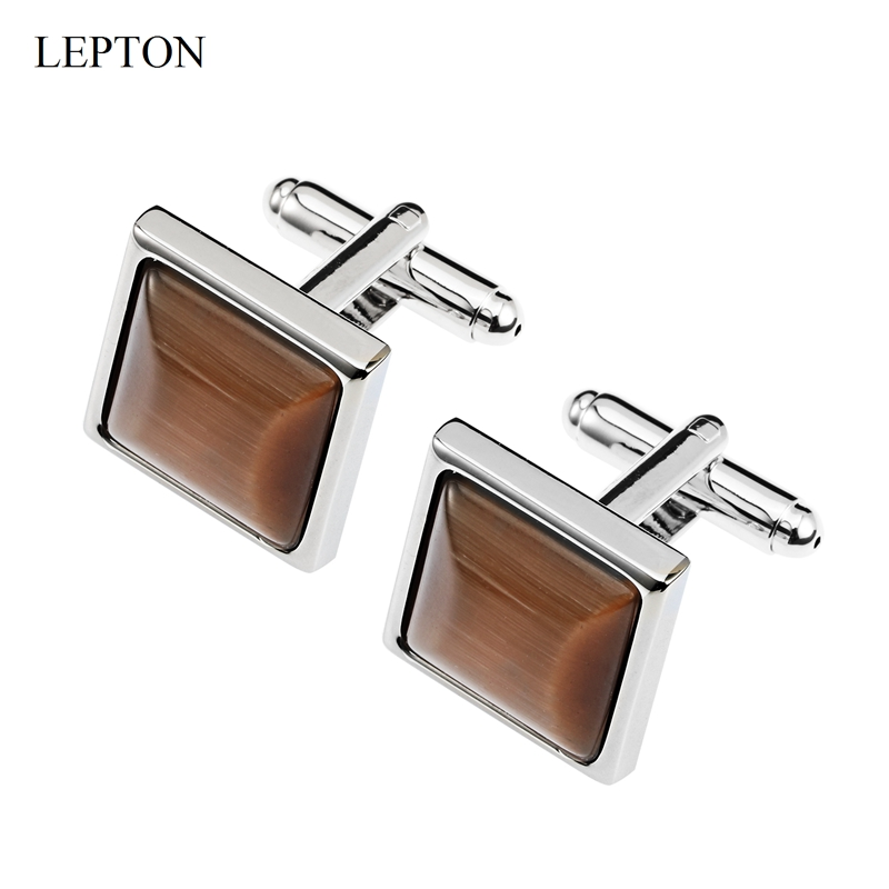 Low-key Luxury Cat's Eye Stone Cufflinks For Mens Business Lepton High Quality Square Brown Opal Stone Cufflink Relojes Gemelos
