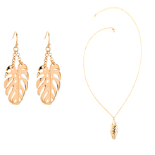 Simple Gold color  Pendant Necklace Banana Leaf Earrings For Elegant Women Fashion Jewelry Sets Drop Shipping