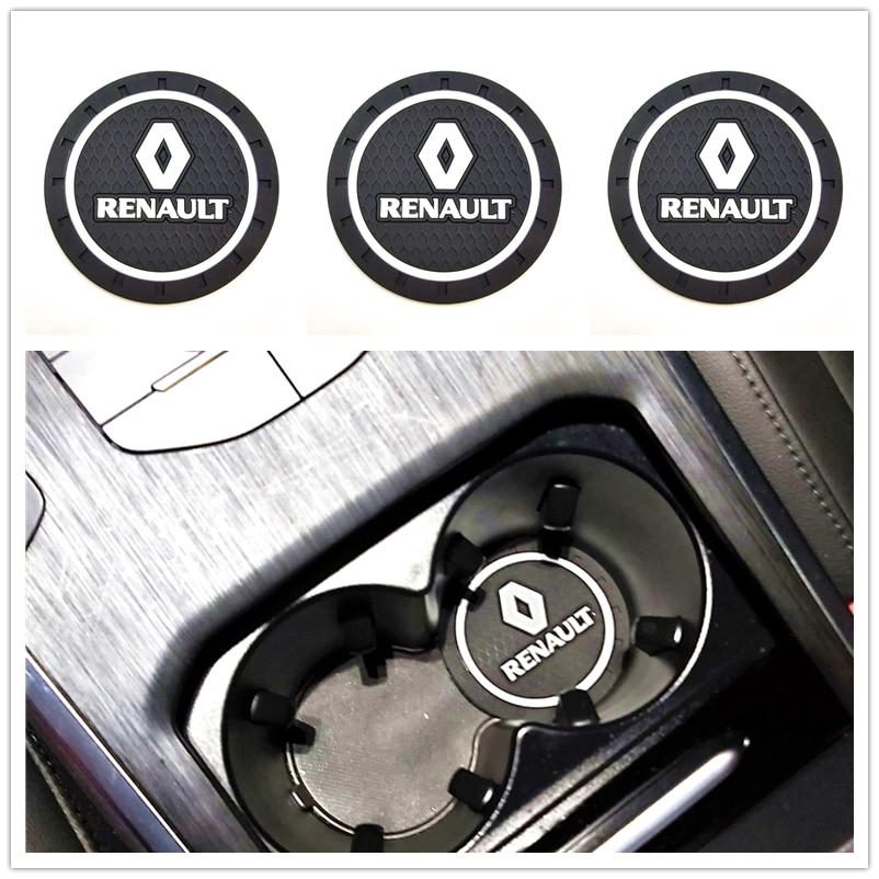 Posavasos 3D para coche a la moda para Renault Megane 2 3, Duster Logan Clio Laguna 2, accesorios de coche con Motor Captur Teléfono de tarjeta de estacionamiento temporal placa tarjeta del número para Renault Kangoo DACIA escénica Megane Sandero Captur Twingo Modus