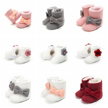 Mignon automne hiver nourrissons chaussures bébé fille garçon noeud noeud bébé bottes espadrilles décontractées antidérapant à semelles souples chaussures de marche 1