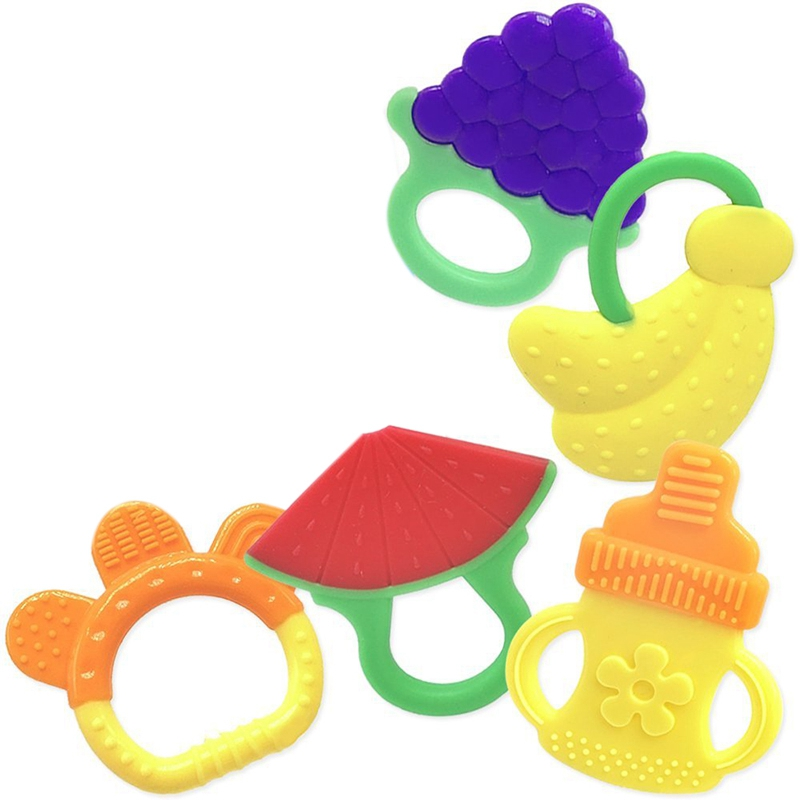 Set of 6 Number-One Baby Teething Toys Set BPA Free Soft Sensory Baby Teether Silicone Fruit Teethers Toy Molar Teeth Soother Soothing Pain Chew Toys for Babies Infant Toddler 3 Months and Above