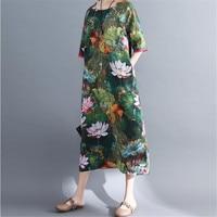 XXL Elgant O Neck Large Size Dress 2020 Summer New Mid sleeve Ethnic Style Loose Cotton Linen Lotus PritedCasual Pockets Dresses