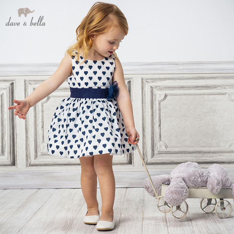 DB13632 Dave Bella Summer Baby Girl's Princess Floral Love Print Dress Children Fashion Party Dress Kids Infant Lolita Clothes