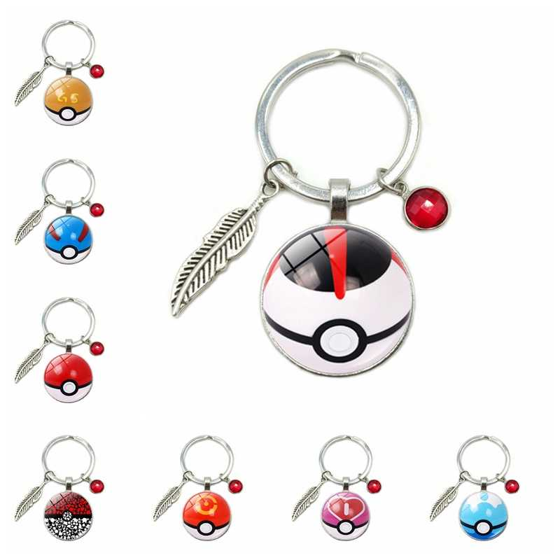 2019 New Hot Selling Pokemon Pikachu Time Glass Convex Keychain 8 Color Crystal Alloy Leaves Hanging Key Ring Small Gift