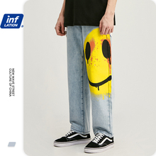 Fit Jeans Pants Smile-Face Streetwear Loose Blue INFLATION with 3091S20 Men's