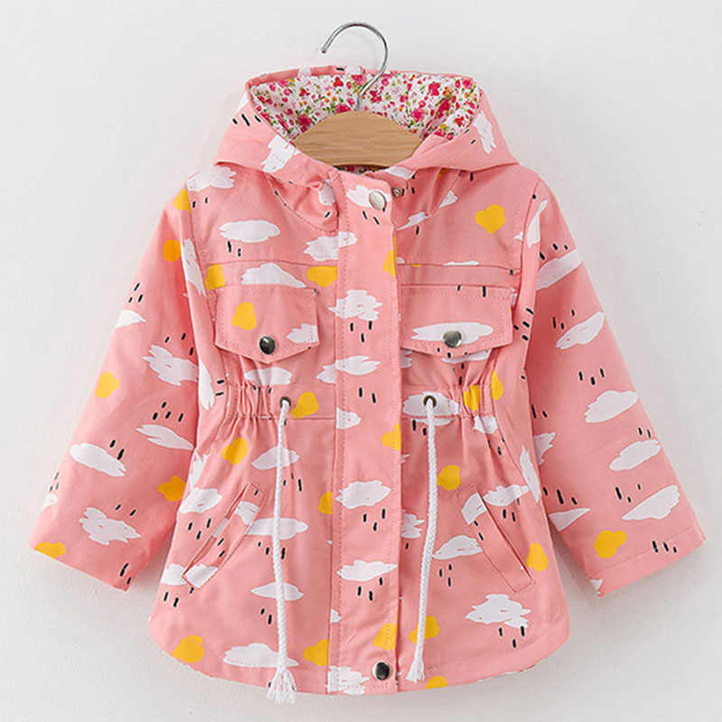 Lente Herfst Meisjes Casual Jassen Hooded Bovenkleding Mode Afdrukken Snoep Kleur Windjack Kinderen Kleding Leuke Meisjes Jas