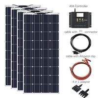 XINPUGUANG 400W system 1175*540mm 18V 100W Flexible Solar Panel 40A Controller Car/Yacht/Steamship 12V 24 Volt 100 Watt Battery