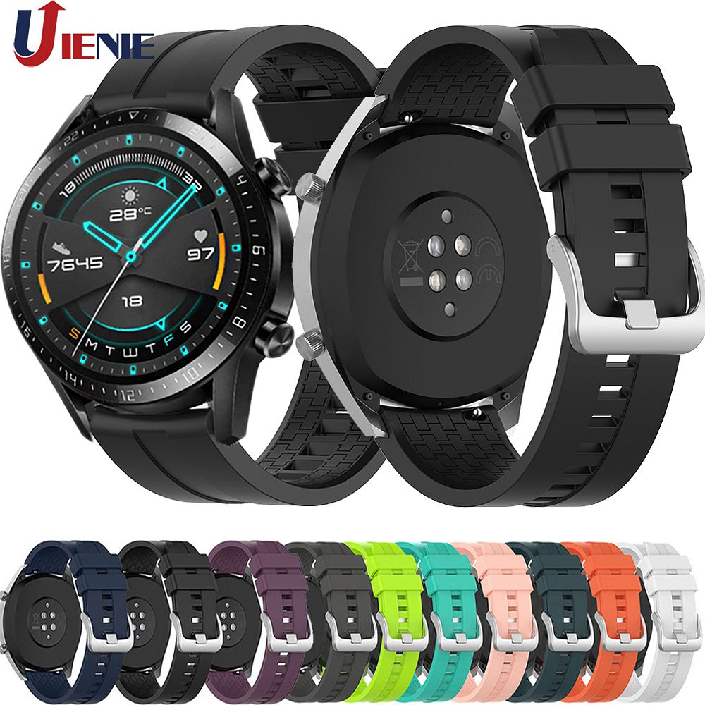 22mm Silicone Strap Watchband For Huawei Watch GT GT2 46mm Smart Watch Wristband Sport Correa For Galaxy 46mm /Gear S3 /GT2 Band