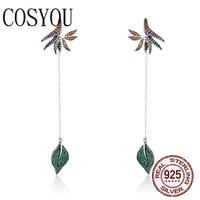COSYOU 925 Sterling Silver Strelitzia Flower Petal & Leaves Long Chain Drop Earrings for Women Party Earrings Jewelry SCE299