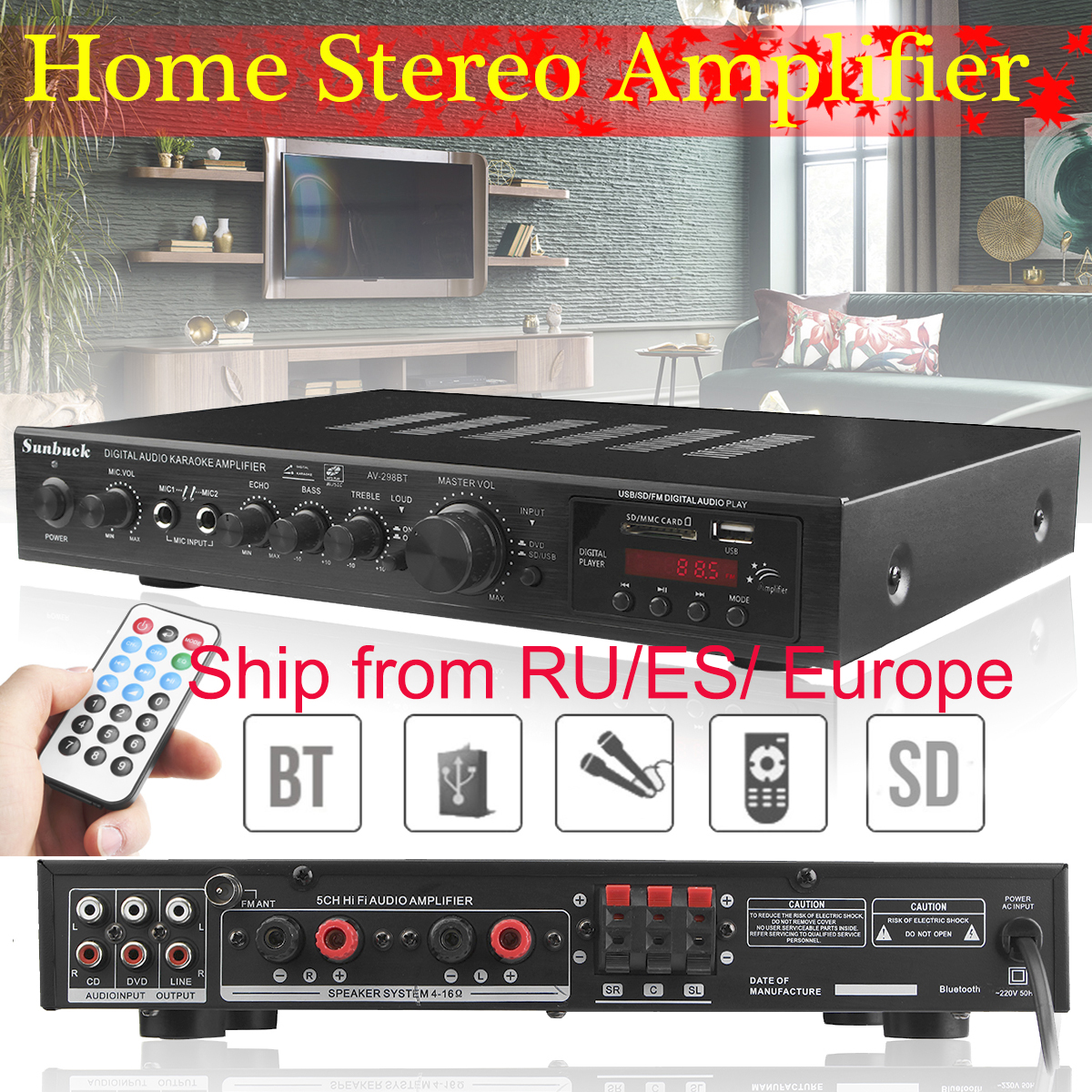 720W 5 Channel bluetooth HiFi Stereo Amplifier LED Digital Karaoke  amplificador audio Home Cinema Home Theater Amplifiers
