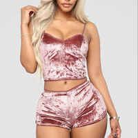 Heiße Frauen 2 stück set Samt Nachtwäsche Sexy Spaghetti Strap Shorts Pyjamas Anzug Damen Casual Nachtwäsche Weibliche Pyjama Party Set