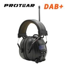 Protear NRR 25dB Gehör Protector Bluetooth DAB +/FM Radio Ohrenschützer Elektronische Ohr Schutz Bluetooth Kopfhörer Ohr Defender