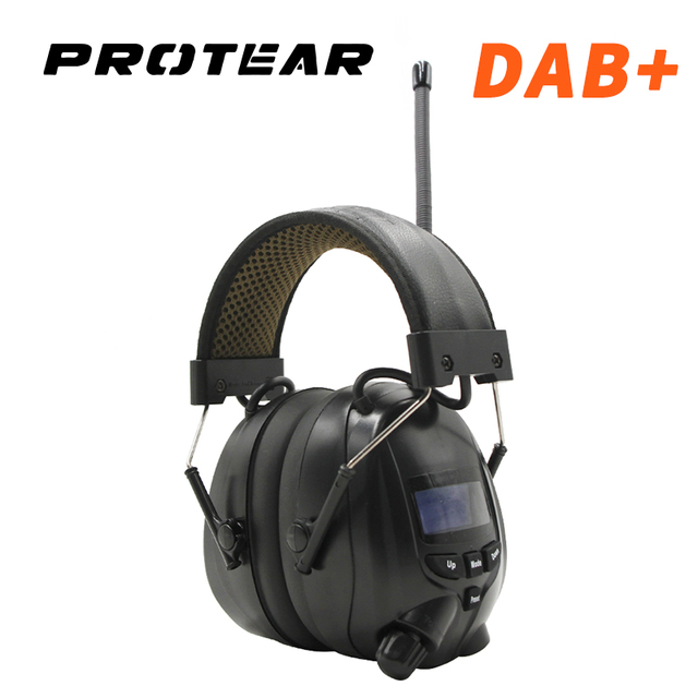 Protear NRR 25dB ochronników słuchu Bluetooth DAB +/FM Radio nauszniki elektroniczna ochrona słuchu słuchawki z Bluetooth Ear Defender