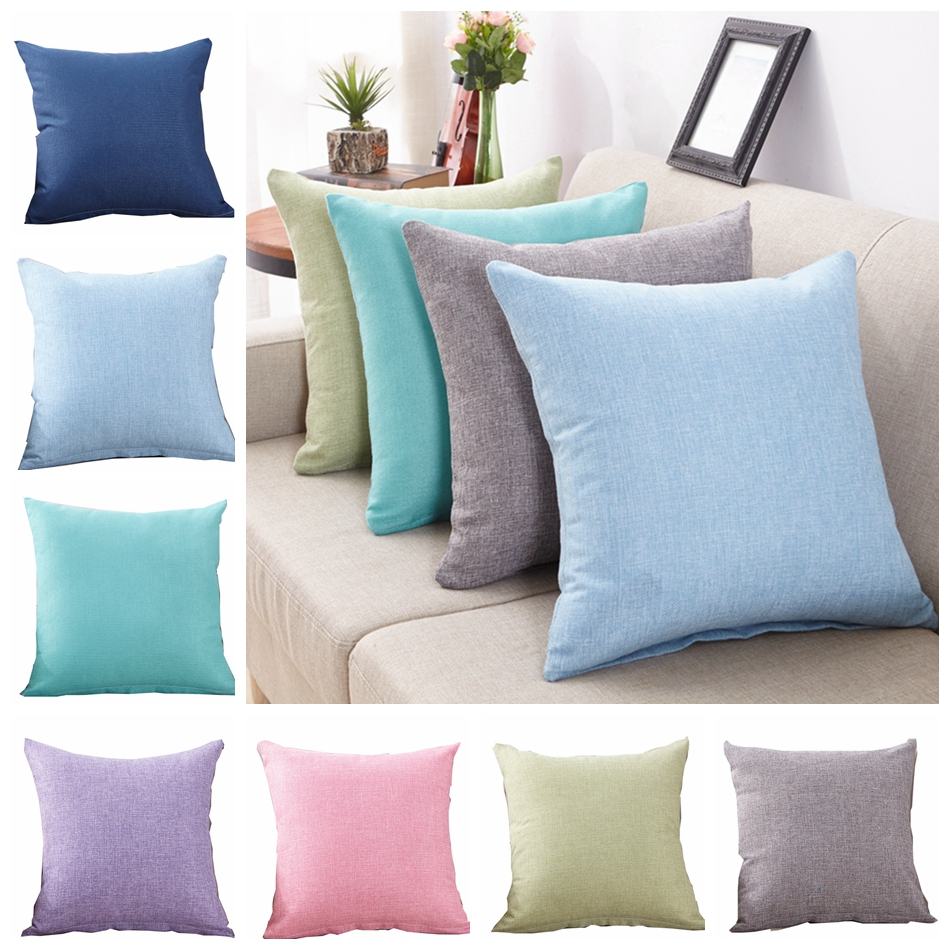 Cushion Cover 45x45cm Solid Color Pillowcase Light Grey/Blue/Pink/Green/Purple Decorative Soft Linen Pillow Cover