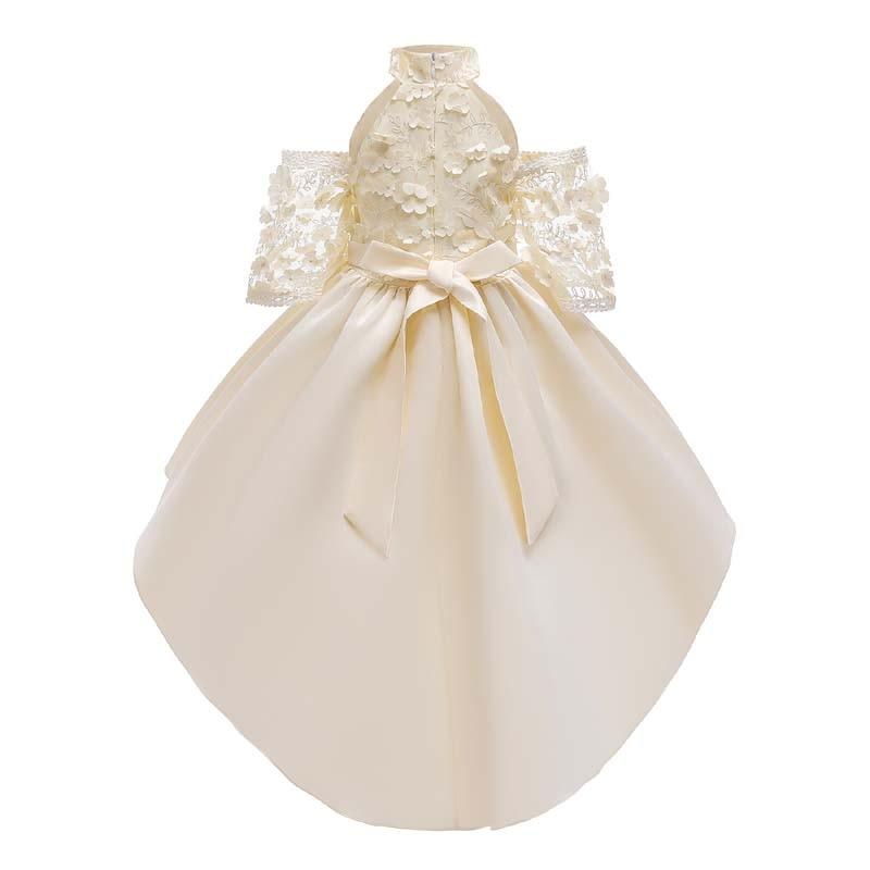 Girls Dress 2020 New Off-the-Shelf Kids Princess Dress Zhong Xiao Tong Bow Stereo Dovetail Dress