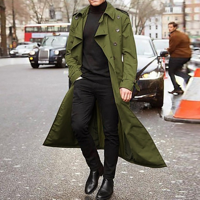 H4371fdb571a84d3f8782704be118252eO gentleman Long Slim Men Trench Coat Double-breasted Lapel Windbreaker Male Fashion Autumn Winter Coat Long Design Trench Male