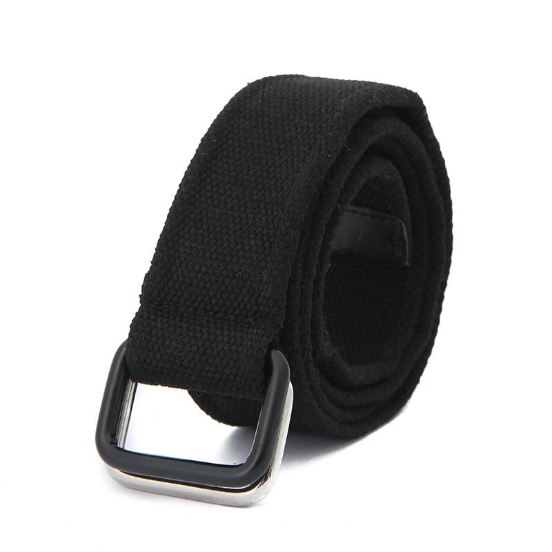 Canvas White Belt For Women Double Ring Buckle Belts Waist Metal Long Belts For Men Solid Color Punk Designer Belt 120CM