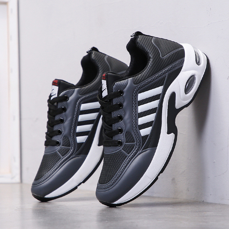 2020New Men's Casual Shoes Shock Absorption Cushion Shoes Campus Wind Non-Slip Shoes Leather Stitching Men's Casual Shoes