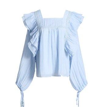 цена на High Quality Women Top and Blouse 2020 Korean Fashion Ruffle Lace Pleated Chiffon Blouse Long Sleeve Light BLue Casual Shirt