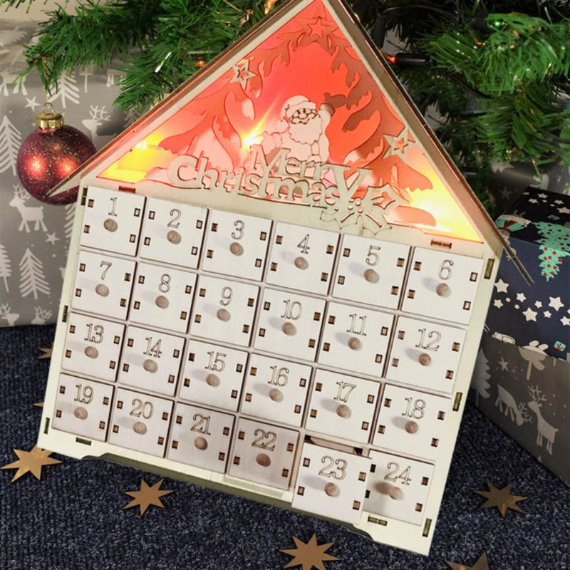 Creative Christmas Santa Claus Wooden Countdown Advent Calendar With LED light Christmas Decoration