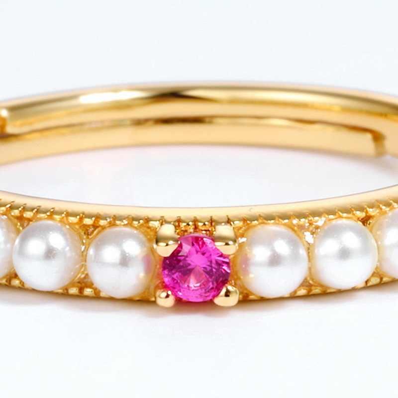 Красный корунд ракушка бусины, 925 серебро позолоченное кольцо открытие темперамент показать тонкое кольцо рука играть роль студентов