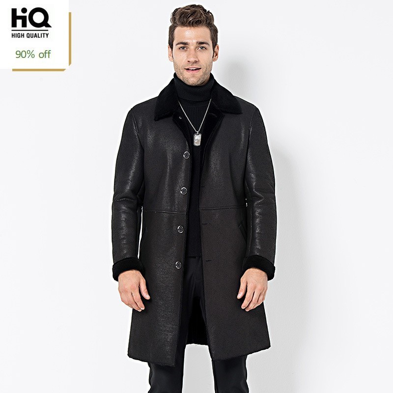 Italy Mens Real Fur Lining Long Trench Single Breasted Business Work Winter Shearling Coat Top Quaity Genuine Leather Jacket