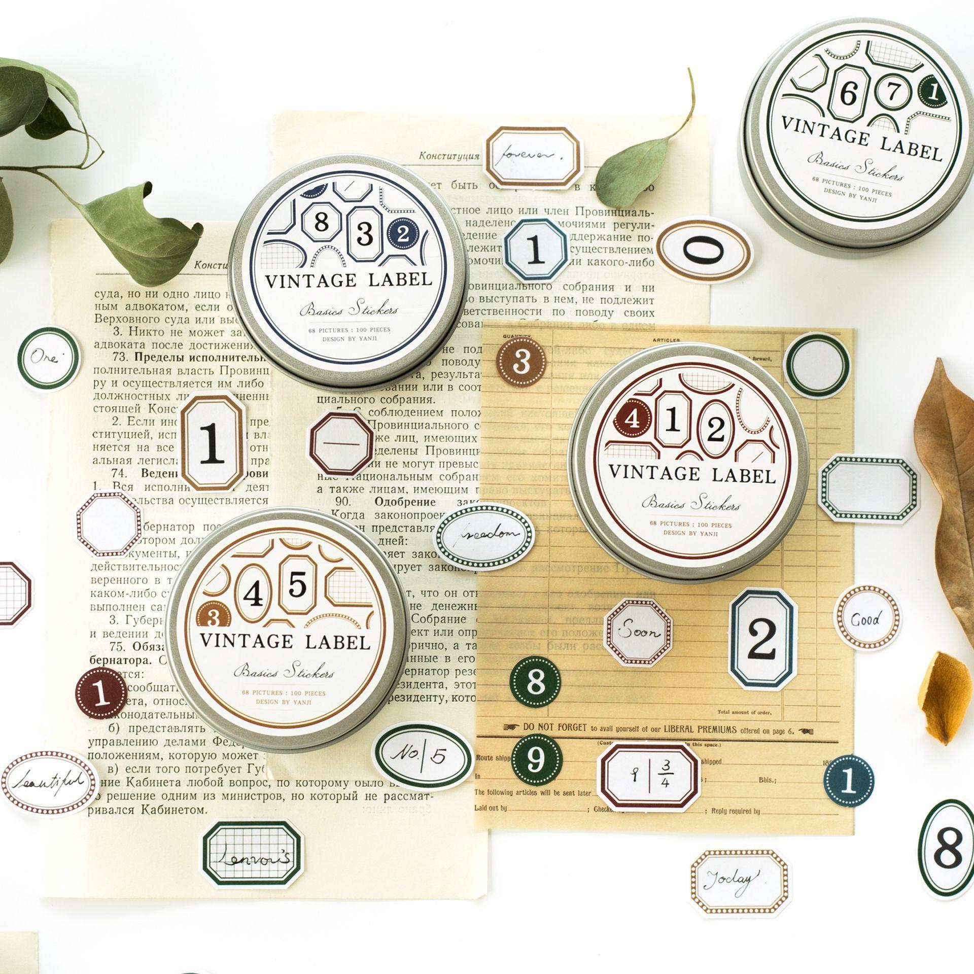 100 шт. серия небольших этикеток в стиле ретро, декоративные простые канцелярские принадлежности, железная коробка, наклейки для скрапбукинг...
