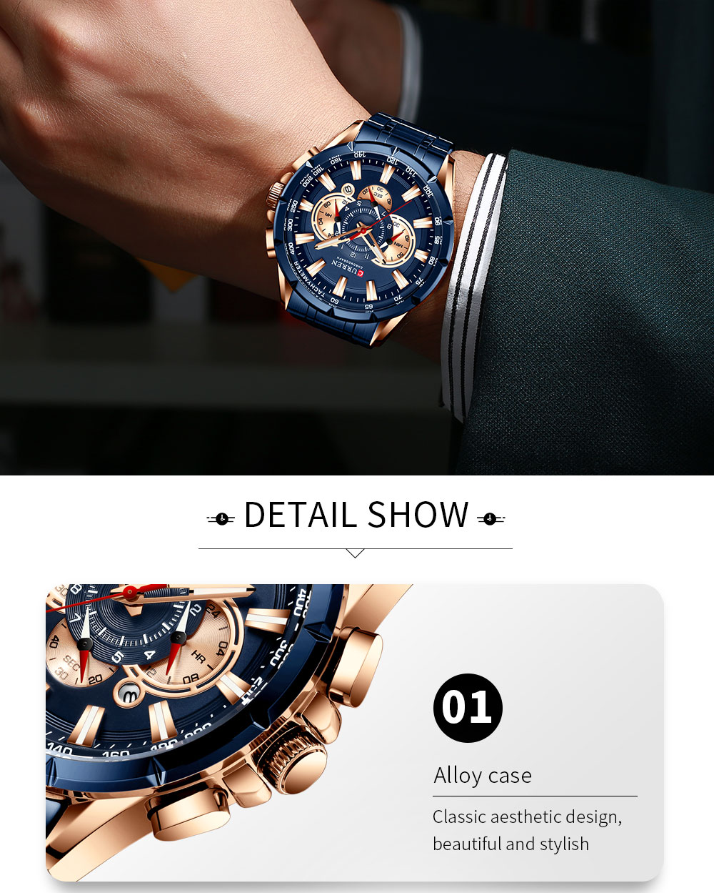 H4372499f9c1a446eb179043cde88b246F CURREN Wrist Watch Men Waterproof Chronograph Military Army Stainless Steel Male Clock Top Brand Luxury Man Sport Watches 8363