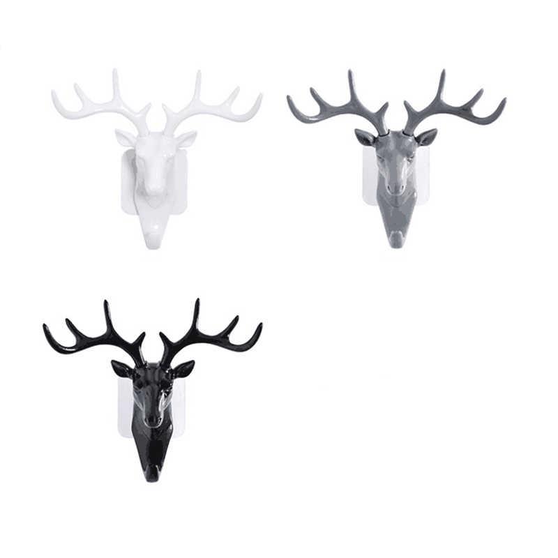 Gancho para colgar en la pared con cabeza de ciervo de Estilo Vintage para colgar ropa sombrero bufanda para colgar cuernos de ciervo perchero decoración de pared