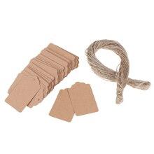 100 шт. пустые крафт-этикетки для ювелирных изделий, этикетки, ценники, подарочные карты с ниткой 20 м