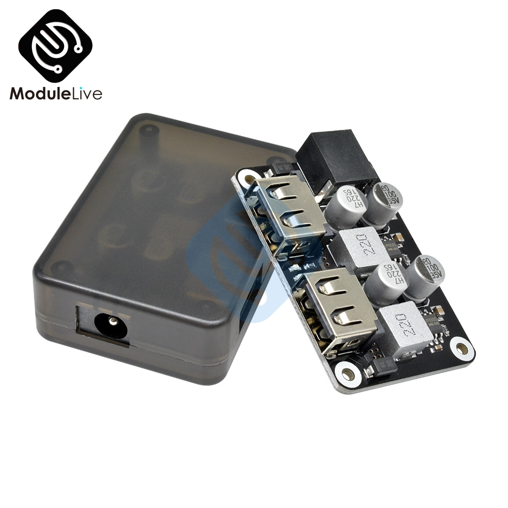 Double TWO Dual 2 USB Fast Charger Buck Module Input 6V   30V Single Port 24W Support QC2.0 QC3.0 QC 2.0 3.0 Car Board With Case|AC/DC Adapters|   - AliExpress