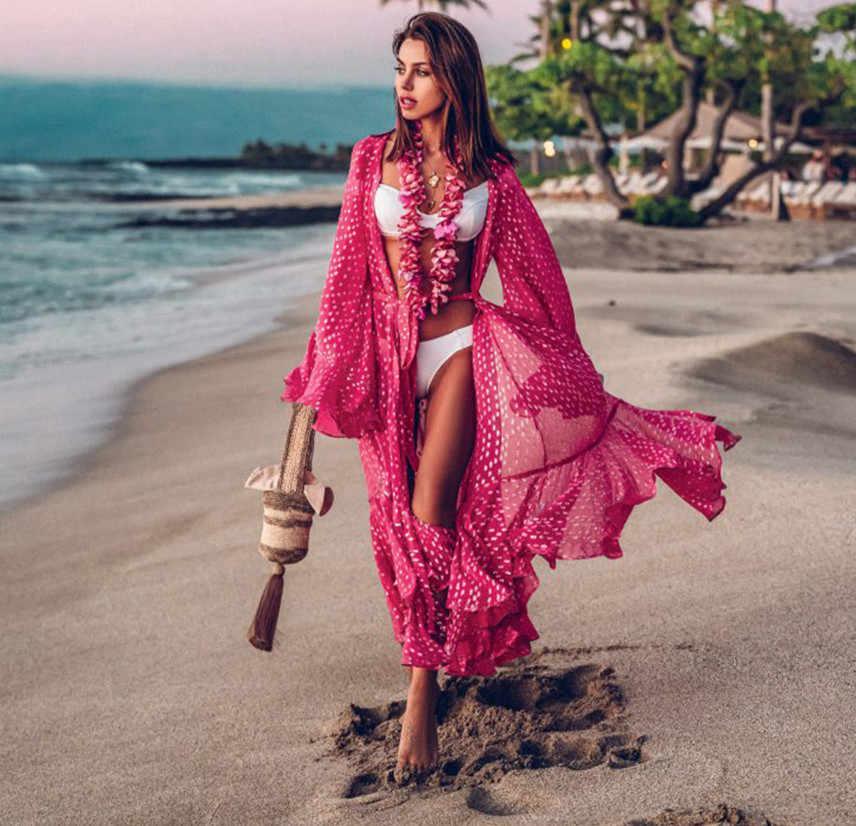 Летний женский купальник бикини с закрытыми чашечками сексуальное пляжное шифоновое длинное платье Элегантное однотонное пляжное купальное платье-туника