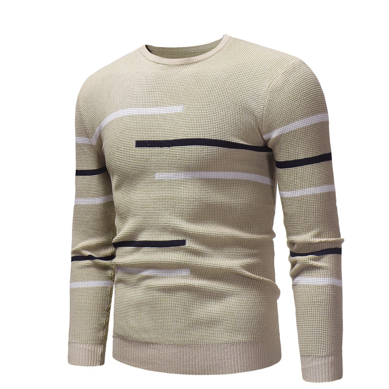 ZOGAA 2019 Autumn Winter New Leisure Men Fashion Comfortable Round Turtleneck Sweater Casual Striped Men Winter Clothes 4 Colors