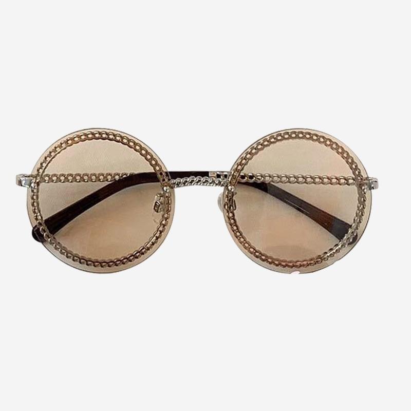 Cadeia rodada Óculos De Sol de Marca Designer de Alta Qualidade Shades Oculos de sol Feminino Da Forma Do Vintage com Caixa de Embalagem - 3