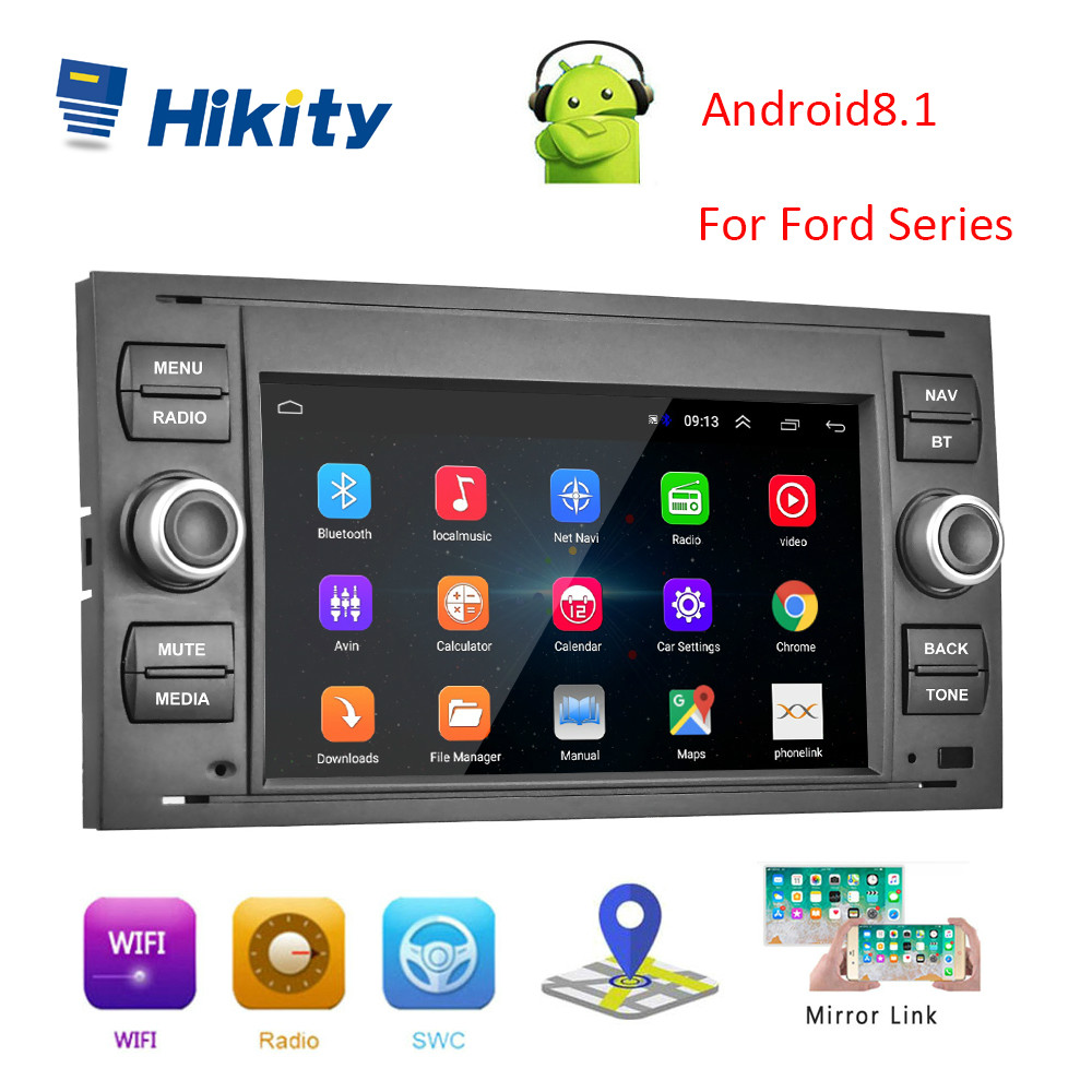 Hikity Android 8.1GPS Car Radio 2Din Car Multimedia player 7'' Audio Player For Focus Galaxy Mondeo Kuga C-Max S-Max Fusion Cars(China)