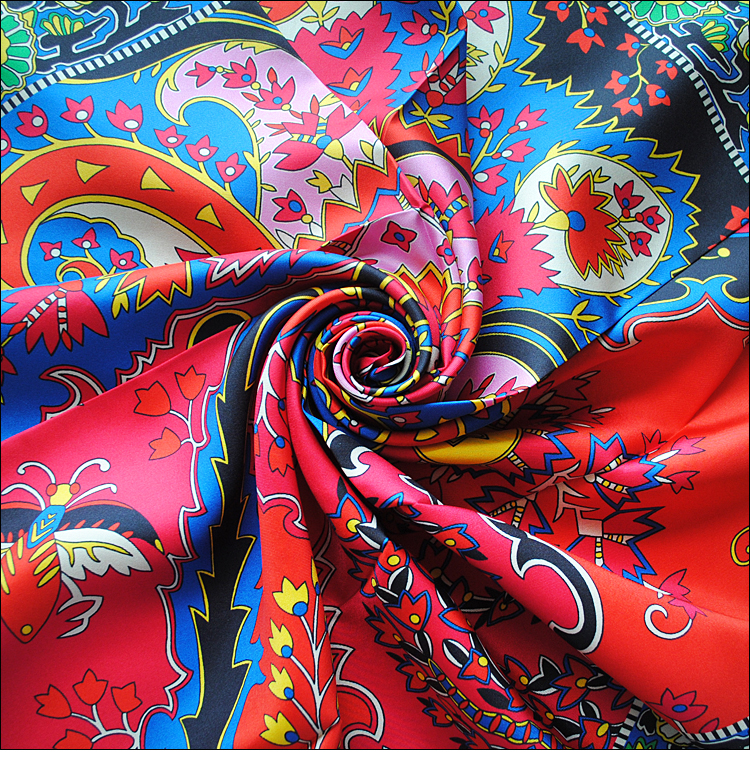 "Image 4 - HuaJun 2 Store Super Eye catching color matching ""Paisley from Paisley"" 90 silk square scarf Twill inkjet scarf Hand rolled-in Women's Scarves from Apparel Accessories"