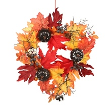 Halloween Hanging Garland Ornament Front Door Decor Wreath With Artificial Pumpkin Maple Leaves For Wall Window Home Party Decor цена и фото